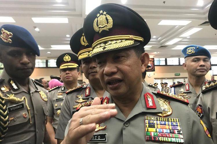 Kapolri Jenderal Pol Tito Karnavian saat ditemui di ruang Rupatama Markas Besar Kepolisian RI (Mabes Polri), Jakarta Selatan, Selasa (25/6/2019).