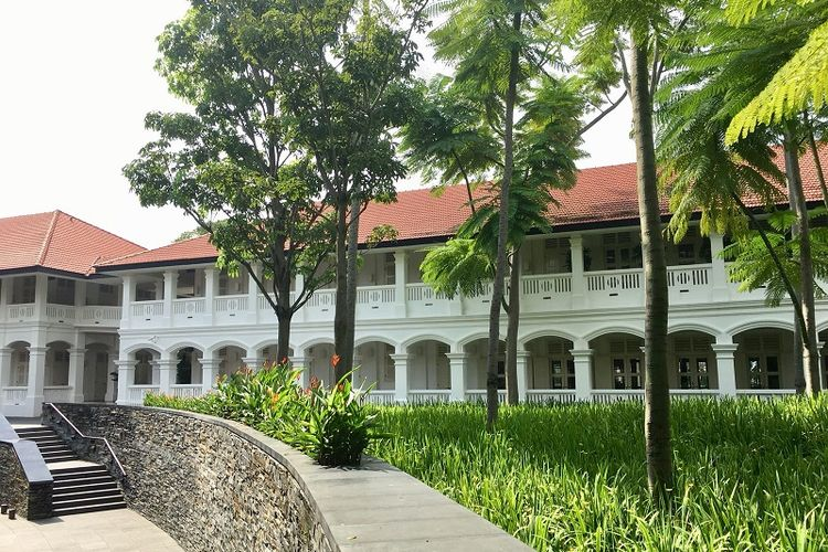 Hotel Capella Singapura di Pulau Sentosa yang bergaya kolonial terlihat dari luar hotel (KOMPAS.com/ ERICSSEN)