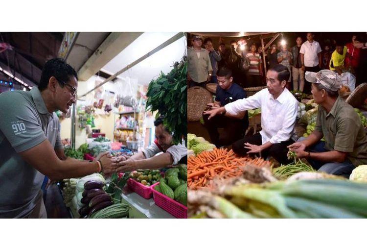 Sandiaga Uno dan Joko Widodo saat blusukan ke pasar.