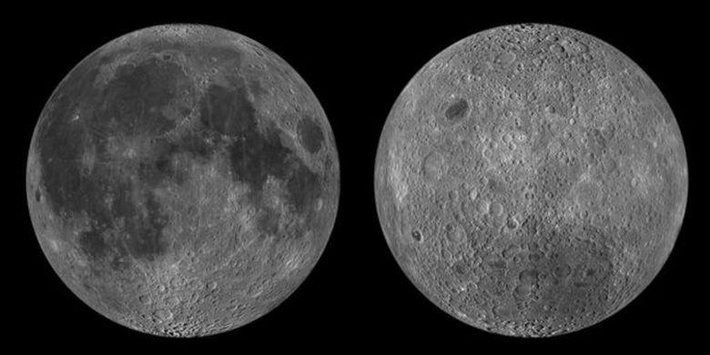 Sisi dekat (kiri) dan sisi jauh (kanan) Bulan memiliki perbedaan mendasar.