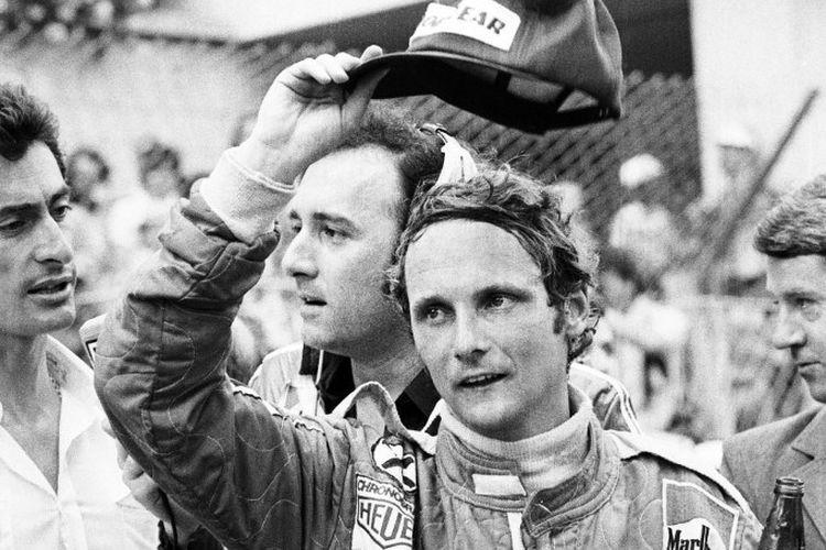 Niki Lauda saat masih aktif menjadi pebalap F1 bersama Ferrari, 27 Mei 1976. Mantan juara dunia Formula 1 itu meninggal dunia dalam usia 70 tahun, 20 Mei 2019.