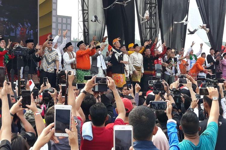 Deklarasi kampanye damai di Lapangan Monas, Jakarta, Minggu (23/9/2018).