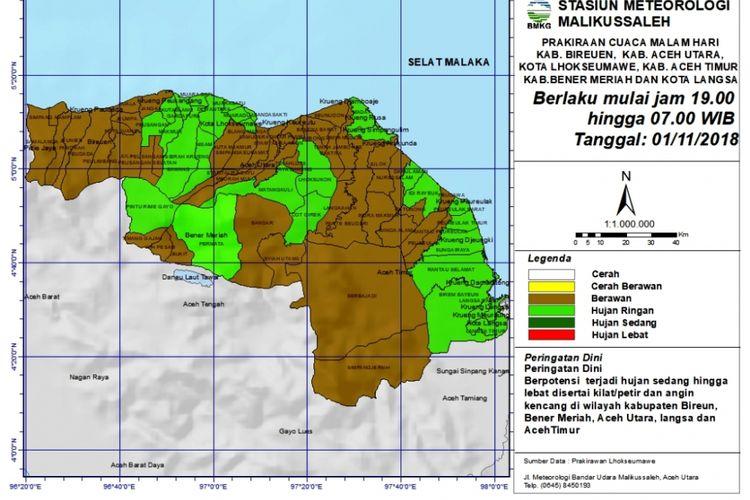 Hasil pengamatan cuaca di kawasan Aceh Utara oleh BMKG Kantor Bandara Sultan Malikussaleh, Kabupaten Aceh Utara, Rabu (31/10/2018)