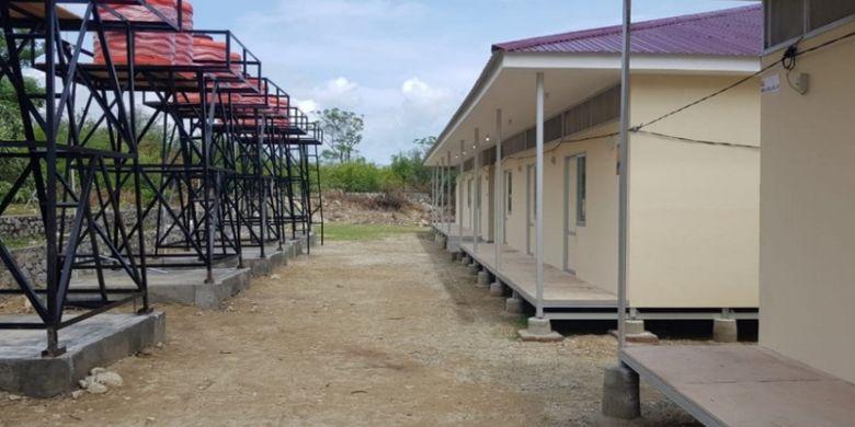 Hunian sementara (huntara) bagi korban bencana gempa bumi di Kota Palu, Sulawesi Tengah.