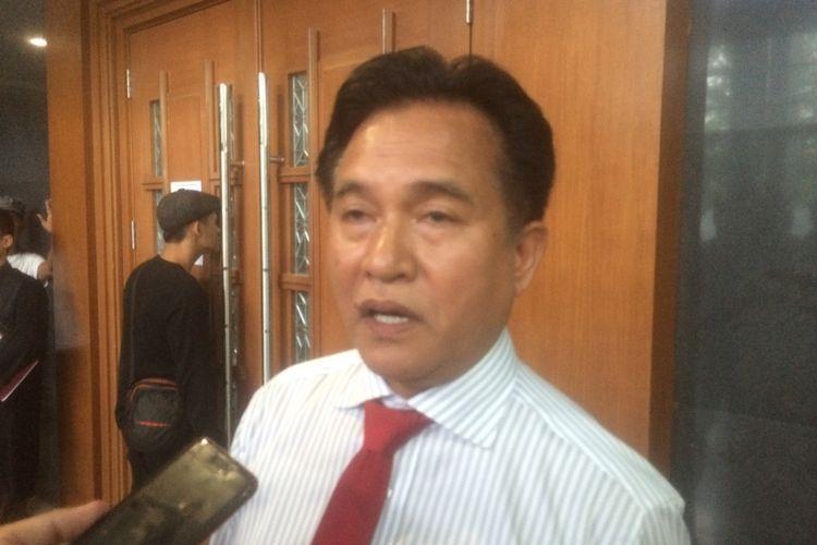 Yusril Ihza Mahendra di Pengadilan Tipikor, Jakarta, Rabu (4/7/2018).