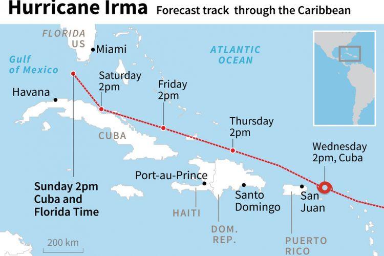 Infografik topan Irma saat mencapai Kuba, 9 September 2017.