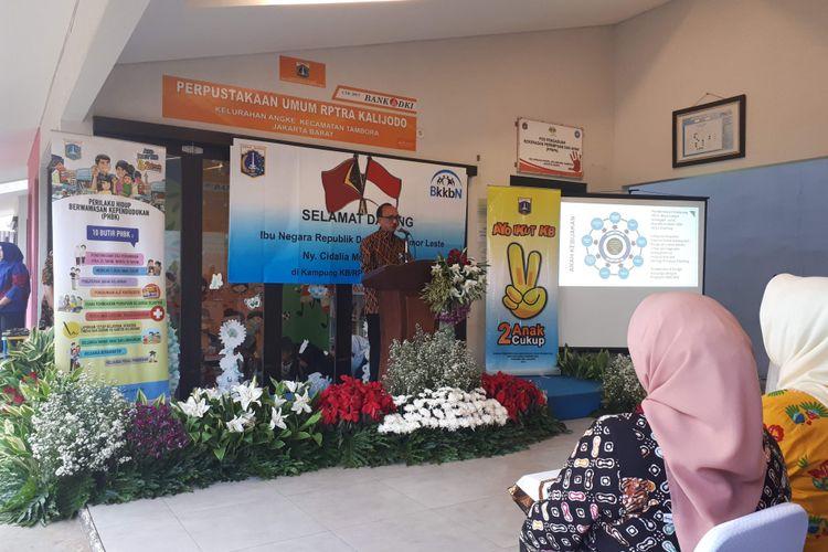 Sambutan Plt. Kepala BKKBN Sigit Priohutomo di RPTRA Kalijodo, Kamis (28/6/2018)