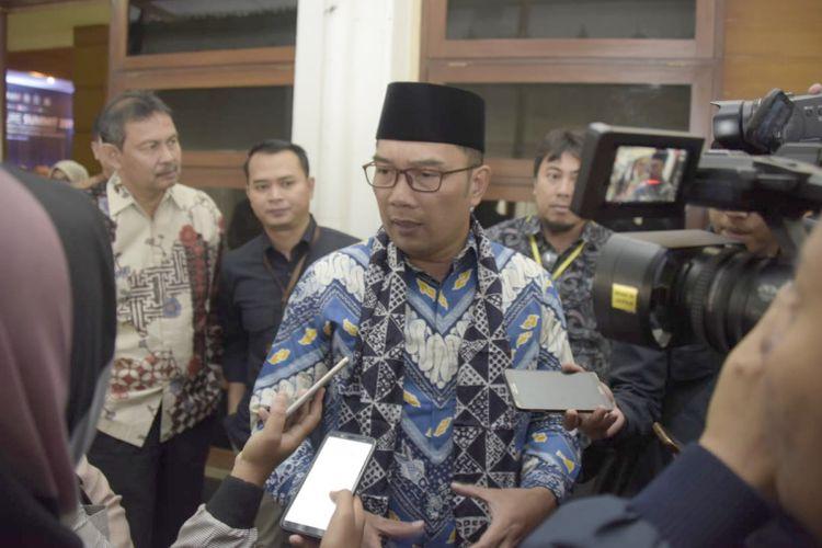 Gubernur Jawa Barat Ridwan Kamil saat hadir dalam acara Infrastructure Summit 2019 di Universitas Padjadjaran, Bandung, Jumat (26/4/2019).