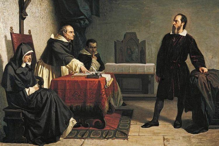 Sebuah lukisan karya Cristiano Bangti (1857) menggambarkan Galileo Galilei sedang menghadapi inkuisisi Gereja Katolik di Roma.