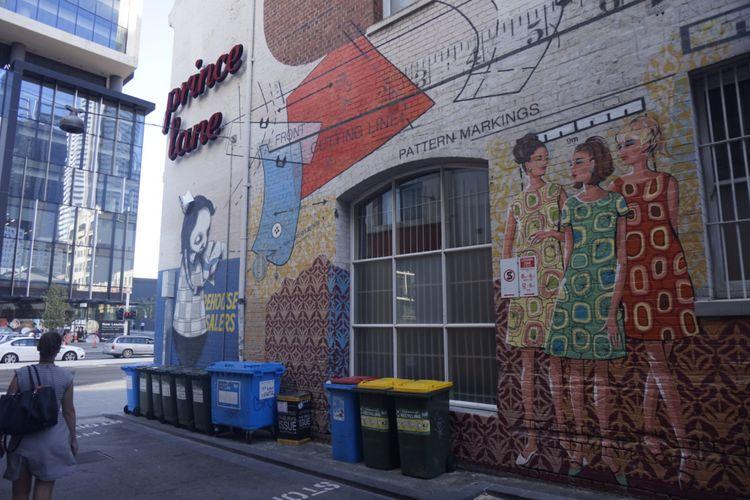 Mural di Prince Lane, Kota Perth, Australia Barat.