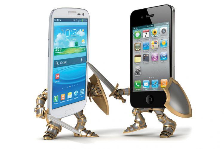 Ilustrasi Samsung vs Apple.