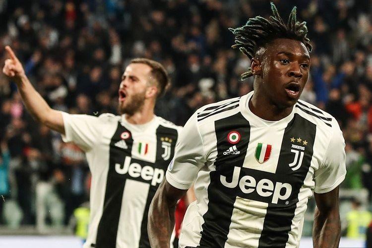 Penyerang muda Timnas Italia, Moise Kean, merayakan gol kemenangan timnya pada pertandingan Juventus vs AC Milan di Stadion Allianz dalam lanjutan Liga Italia, 6 April 2019.