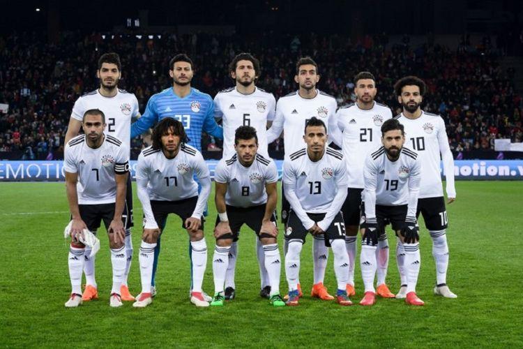 Starter timnas Mesir pada laga persahabatan melawan Portugal di Zurich, 23 Maret 2018.