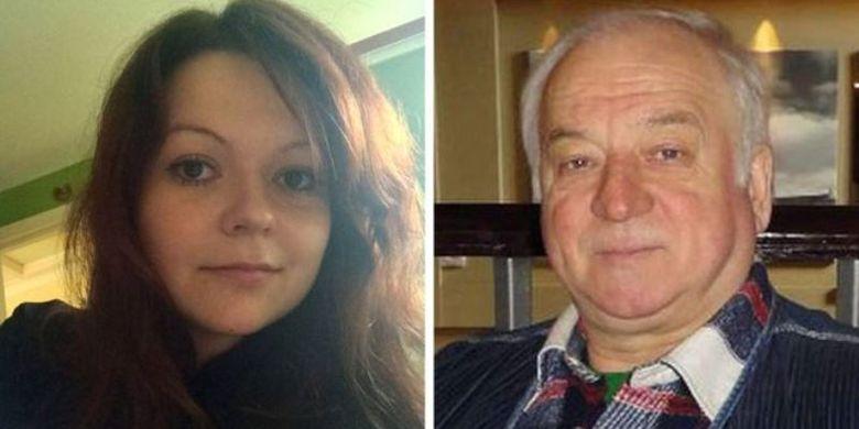 Yulia Skripal (kiri) dan ayahnya, Sergei Skripal. Mereka ditemukan tidak sadar di Salisbury, Inggris, pada 4 Maret lalu. Sergei Skripal merupakan mantan mata-mata Rusia yang membelot ke Inggris.