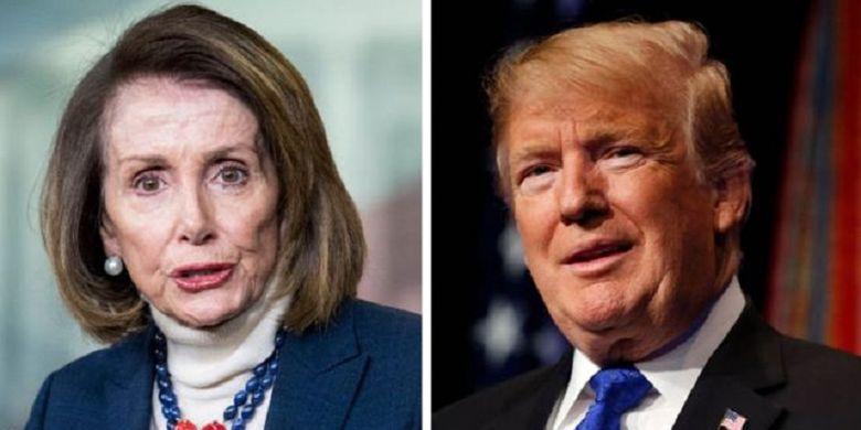 Presiden Amerika Serikat Donald Trump (kanan) dan Ketua DPR AS Nancy Pelosi.