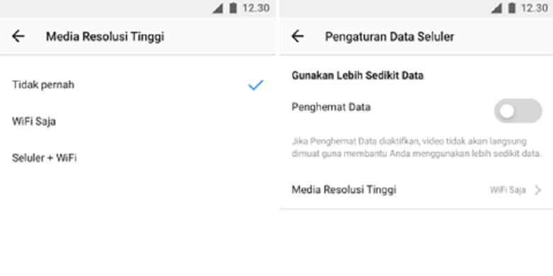Opsi hemat kuota data di Instagram