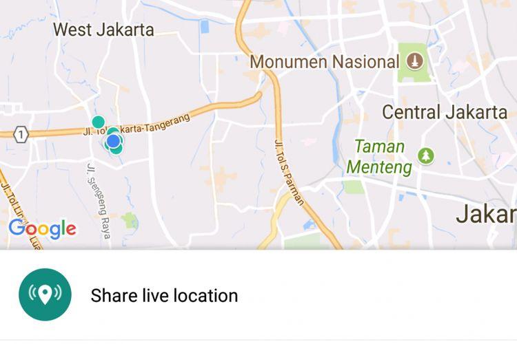 Menu Live Location di WhatsApp untuk berbagi lokasi secara langsung atau real time dalam waktu tertentu.