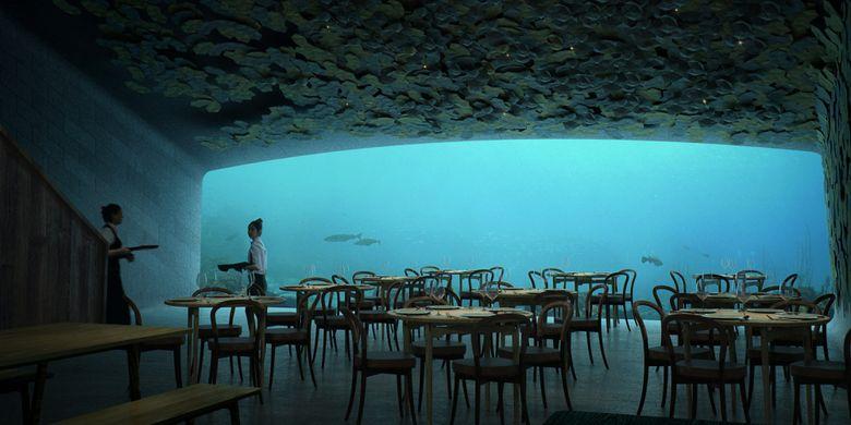 Rendering desain restoran bawah laut rancangan Snøhetta.