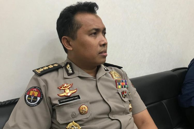 Kepala Bagian Penerangan Umum Polri Kombes Syahar Diantono di Gedung Humas Mabes Polri, Jakarta Selatan, Rabu (13/2/2019).
