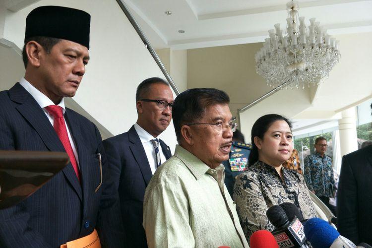 Wakil Presiden Jusuf Kalla usai rapat penanggulangan bencana, Rabu (9/1/2019).