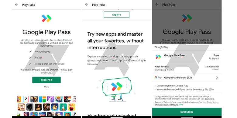 Tangkapan layar Google Play Pass