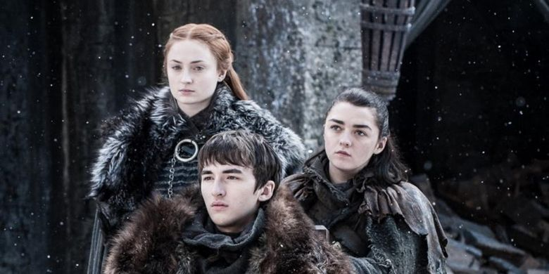Karakter dalam Game of Thrones, Sansa Stark, Bran Stark, dan Arya Stark.