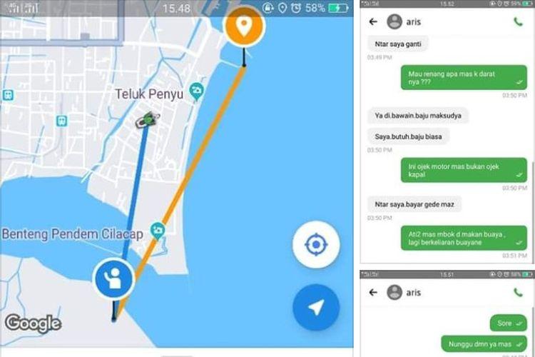 Tangkapan layar chat driver ojol dan pemesan yang diduga penghuni napi Nusakambangan, Cilacap, Jawa Tengah.