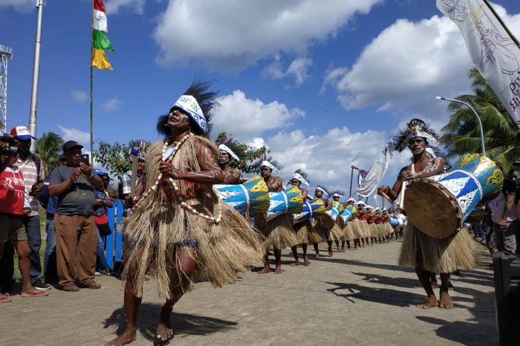 Festival Suling Tambur di Kampung Kabare, Distrik Waigeo Utara, Raja Ampat, Papua, Selasa (25/9/2018).