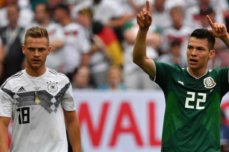 Hirving Lozano Merayakan Gol Meksiko Ke Gawang Spartak Di Depan Joshua Kimmich Pada Laga Piala Dunia