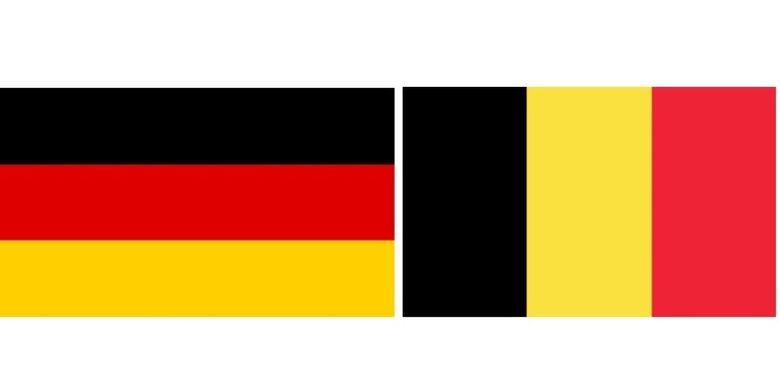 Bendera Jerman (kiri) dan Belgia (kanan).