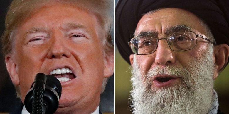 Presiden Amerika Serikat Donald Trump (kiri), dan Pemimpin Tertinggi Iran Ayatollah Ali Khamenei.