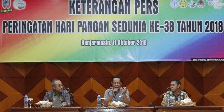 Gubernur Kalimantan Selatan H. Sahbirin Noor pada jumpa pers persiapan HPS 2018 di Mahligai Pancasila, Banjarmasin, Kalsel, Kamis (11/10/2018) kemarin.