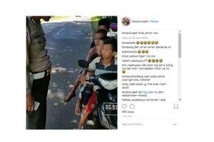 Viral, Video Polisi Tilang 4 Anak Naik Motor Berboncengan