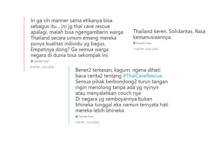Ungkapan kekaguman netizen Indonesia atas upaya penyelamatan tim sepak bola remaja Thailand yang terjebak di goa.