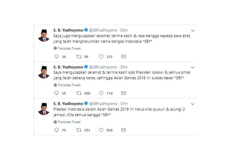 Melalui akun Twitter-nya, SBY mengucapkan terima kasih kepada Presiden Joko Widodo atas kesuksesan Asian Games 2018.