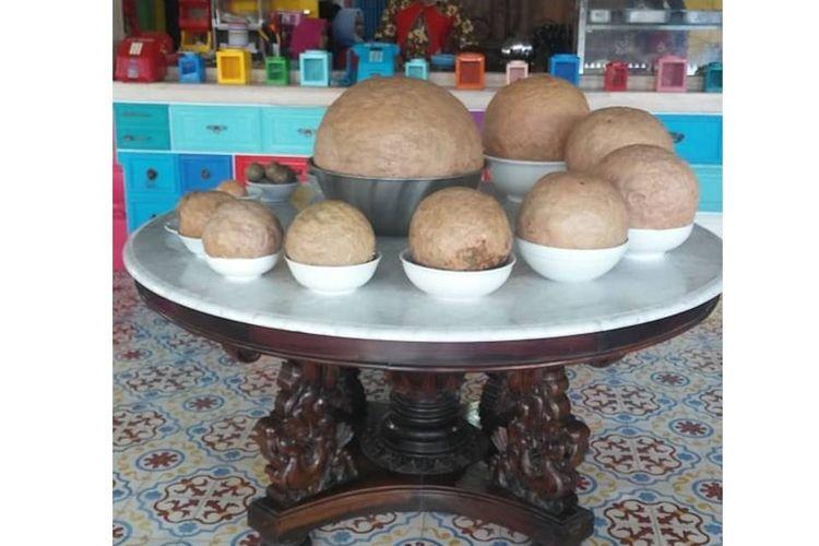 Bakso jumbo berbobot 55 kg, Bakso Petir Dasyat, di Warung Bakso Klenger Ratu Sari 2, Depok, Yogyakarta. Jumat (7/9/2018).