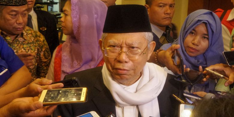 Ketua Umum Majelis Ulama Indonesia (MUI) Maruf Amin saat ditemui usai dialog kebangsaan Muslimat NU dengan tema Pancasila, Agama dan Negara di Hotel Crowne Plaza, Jakarta Selatan, Senin (27/3/2017).