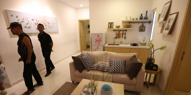 Foto contoh desain interior yang akan digunakan apartemen kota baru Meikarta PT Lippo Cikarang Tbk di Kantor Marketing Meikarta, Kabupaten Bekasi, Jawa Barat, Senin (4/09/2017). Pada tahap pertama, akan dibangun 200 ribu unit apartemen yang siap huni pada akhir tahun 2018.