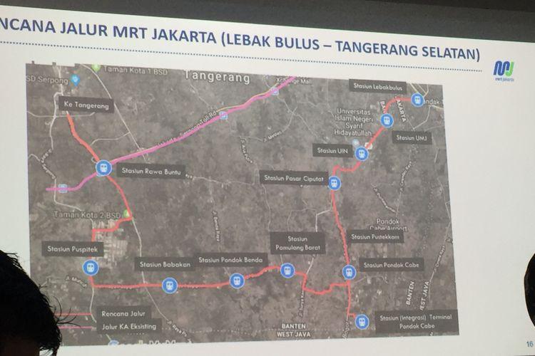 Perkiraan perpanjangan trase MRT ke Tangsel.