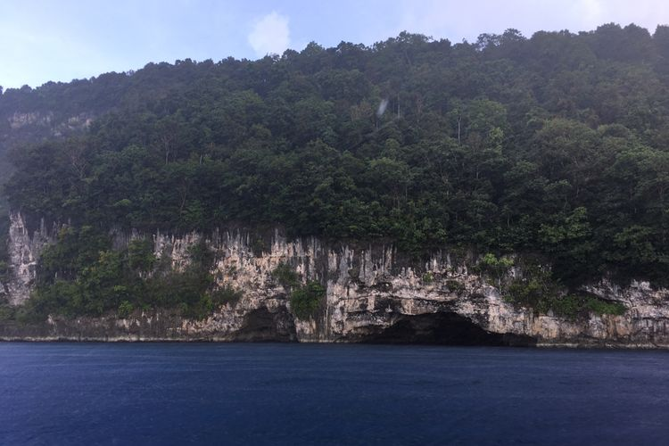 Goa-goa yang ada di tebing laut di Kepulauan Sula, Maluku Utara.