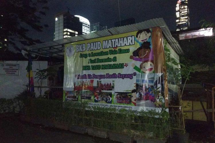 PAUD Matahari di Jalan Kuningan Patra XV, Jakarta Selatan yang disebut sebagai sekretariat Himpunan Pendidik dan Tenaga Kependidikan Anak Usia Dini Indonesia (Himpaudi) DKI Jakarta, Selasa (28/11/2017).