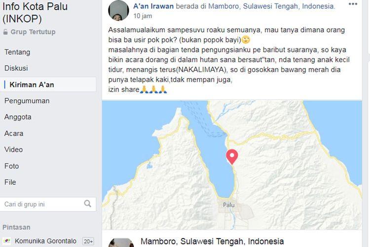 Unggahan seorang warganet tentang gangguan suara hantu popok menakutkan para pengungsi yang berdiam di tenda-tenda pengungsian di wilayah pinggiran kota Palu.