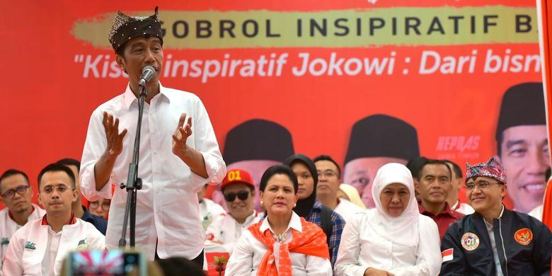 Joko Widodo calon presiden nomer urut 1 saat ngobrol inspiratif di Banyuwangi Senin (25/3/2019)