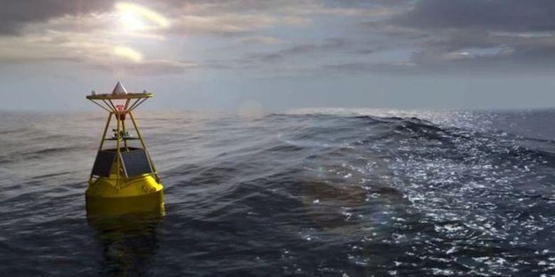 Buoy mendeteksi tinggi gelombang di laut secara akurat.