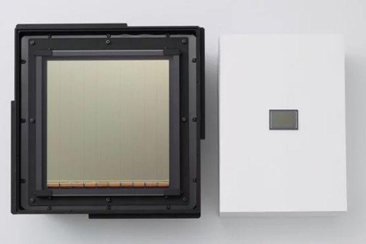 Sensor raksasa buatan Canon ditampilkan berjajar dengan sensor kamera full frame standar 35 milimeter