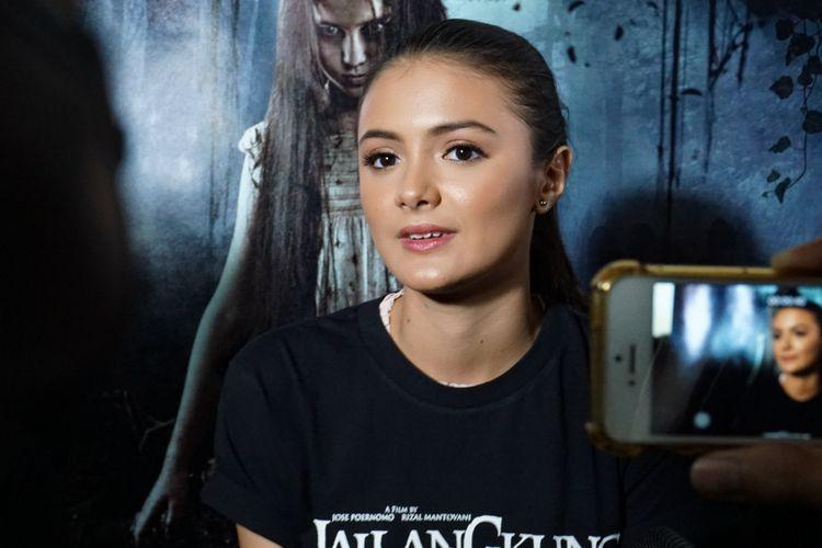 Amanda Rawles hadir dalam acara peluncuran trailer film Jailangkung 2 di Senayan City XXI, Jakarta Pusat, Senin (30/4/2018).