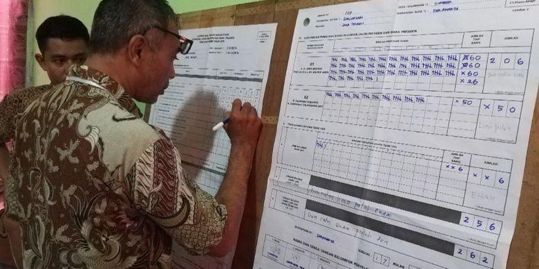 Nampak petugas KPPS TPS 029 Kelurahan Sumber, Kecamatan Banjarsari, Kota Solo sementara menjumlah perolehan suara pilpres 2019. Di TPS yang tak jauh dari Posko Pemenangan Prabowo-Sandiaga itu, paslon Jokowi-Maruf menang telak.