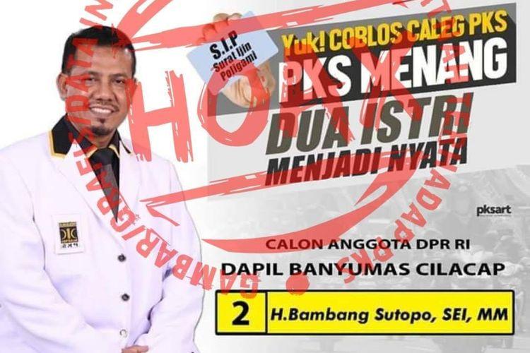 Beredar poster hoaks Caleg PKS dengan slogan dukungan RUU poligami.