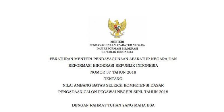 Peraturan Menteri Pendayagunaan Aparatur Negara dan Reformasi Birokrasi tentang nilai ambang batas pengadaan CPNS 2018.