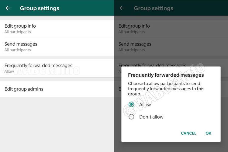 Menu pemblokiran pesan terusan di WhatsApp.